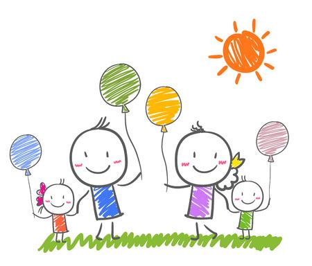 家族: 幸せな家族  イラスト・ベクター素材