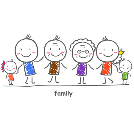 Big family with children 矢量图像