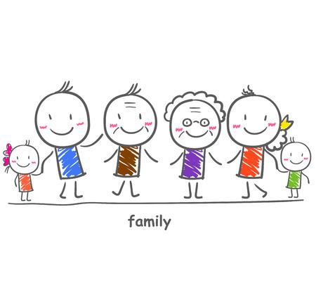 Big family with children Illustration