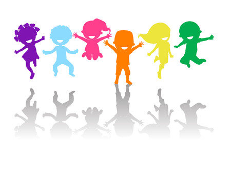 dancing silhouettes: Cute kids jumping