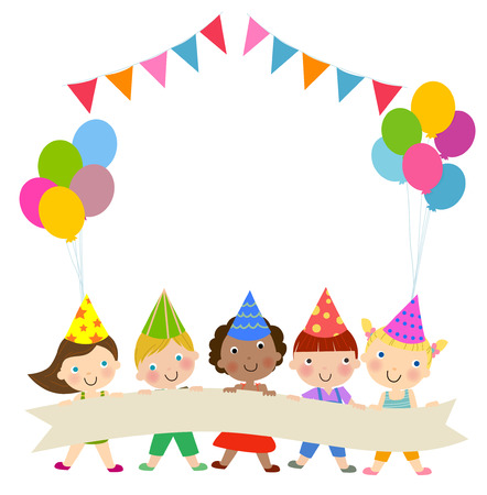 Group of children and birthday party Vettoriali