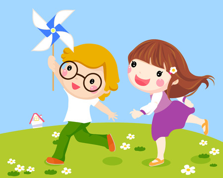 dessin fleur: Enfants Courir Ensemble ext�rieur avec Windmill Illustration