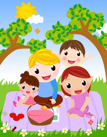 kid vector: Familia de picnic