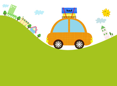 luggage carrier: cute car Illustration
