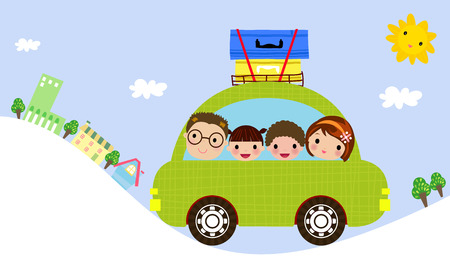 family trip: Family in car Illustration