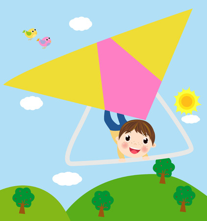 glider: Illustration Featuring a Boy Riding a Glider