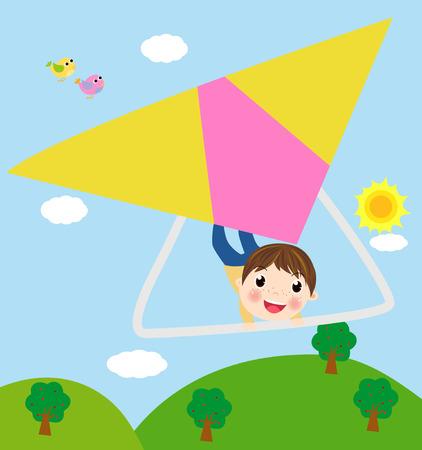 Illustration Featuring a Boy Riding a Glider