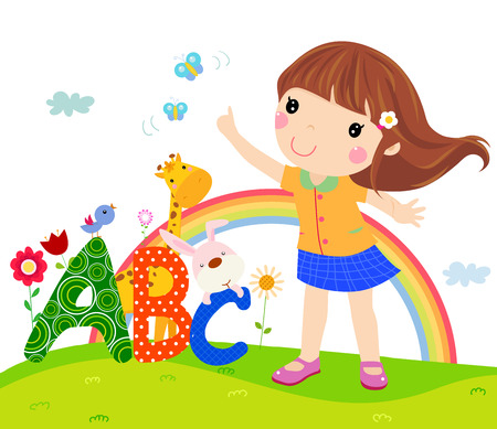 learning materials: Little girl and ABC