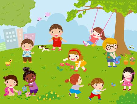 cartoon school: Kids playing