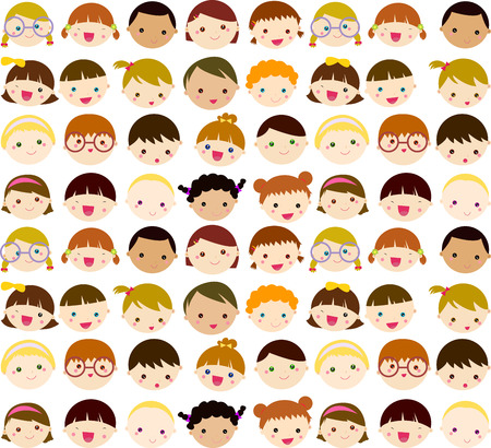 cartoon singing: Kids face set
