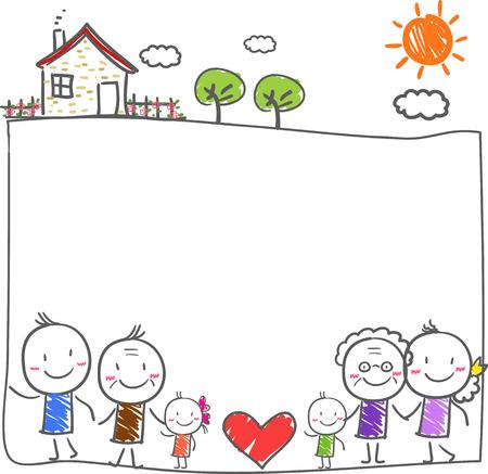 Big family with children Vettoriali
