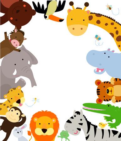 Fun Jungle Animals Border  イラスト・ベクター素材