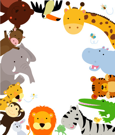 jungle safari: Fun Jungle Animals Border Illustration