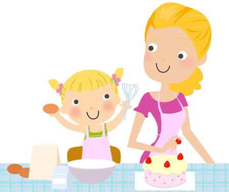 kid vector: Madre e hija que hacen una torta. Vectores