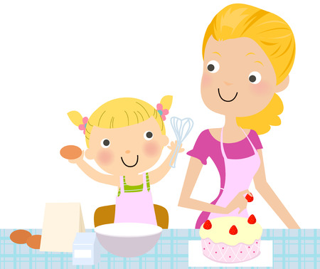 Mother and daughter making a cake.