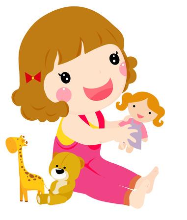 행복한 유아 소녀 극의 그림
