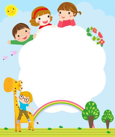 arcoiris caricatura: Ni�os y marco Vectores