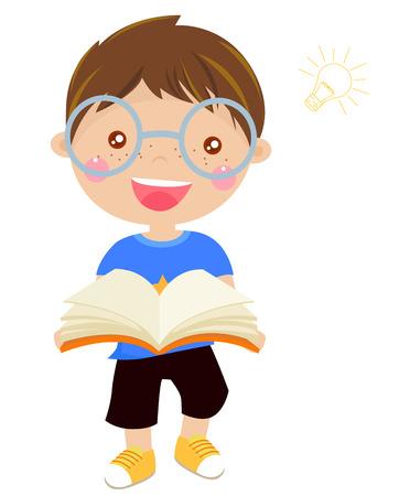 literatura: Muchacho de la historieta que sostiene un libro