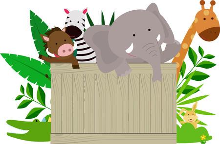 selva caricatura: Los animales salvajes que sostienen la placa de madera Vectores