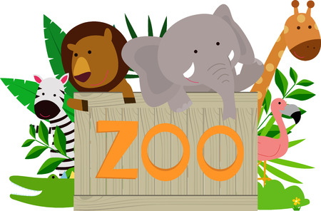 keel: Wild animals holding wooden zoo plate Illustration