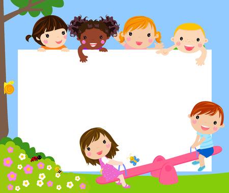 escuela caricatura: Niños y marco Vectores