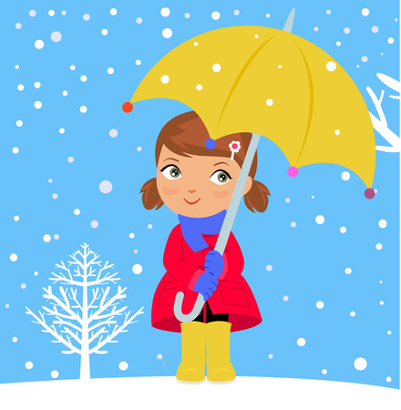 thaw: happy girl in winter with umbrella Illustration
