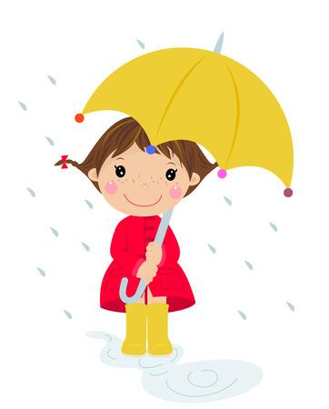 rain coat: Girl in raining with umbrella