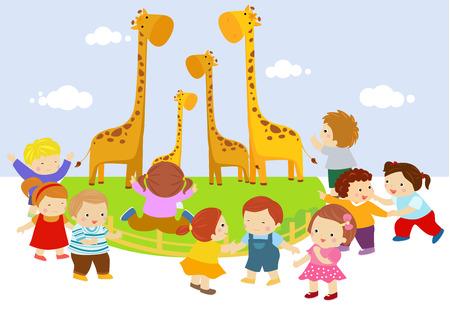 kinder: Kids in zoo
