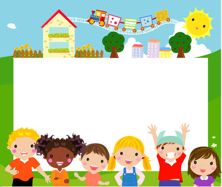 rahmen: Gruppe von glücklichen Kindern und Banner
