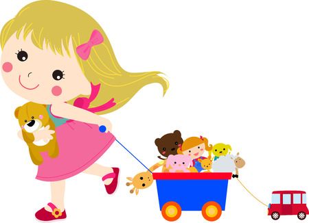 little dog: Cute little girl and her toys Illustration