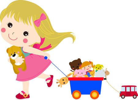 juguetes: Niña linda y sus juguetes