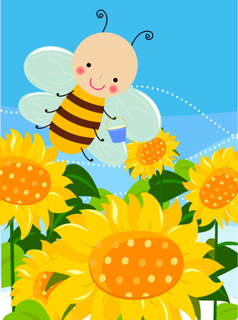 Cute bee and sunflower Vector
