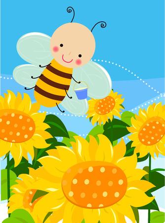 sunflowers: Cute bee and sunflower