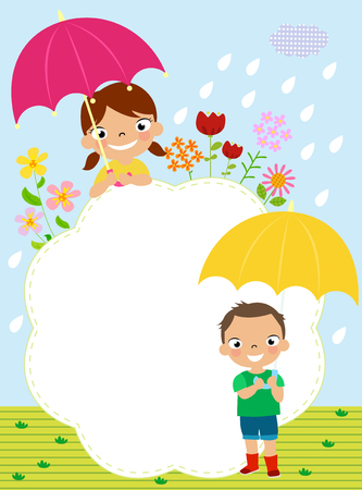rain cartoon: illustration of two kids in rain