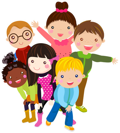 asian friends: Group of kids wearing winter clothes Illustration