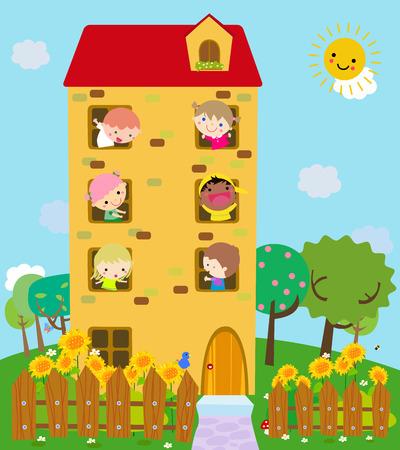 enfant qui sourit: Maison dr�le de bande dessin�e: un enfant souriant mignon dans chaque fen�tre Illustration