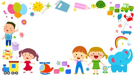 Vector children: trẻ em dễ thương nền Hình minh hoạ
