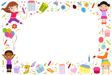 colour pencil: school kids frame