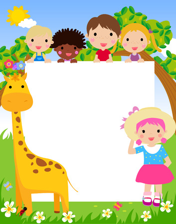 group of kids: Color frame with group of kids and giraffe