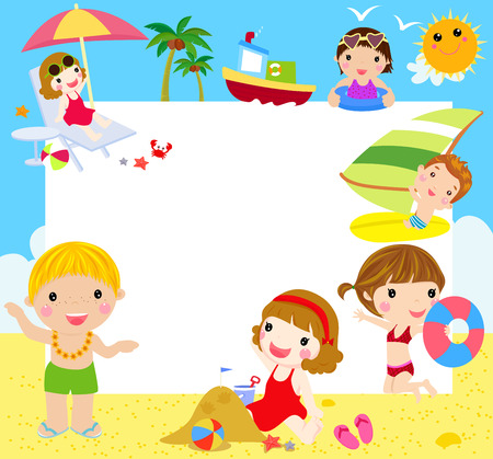 su: Kids at the Beach with banner