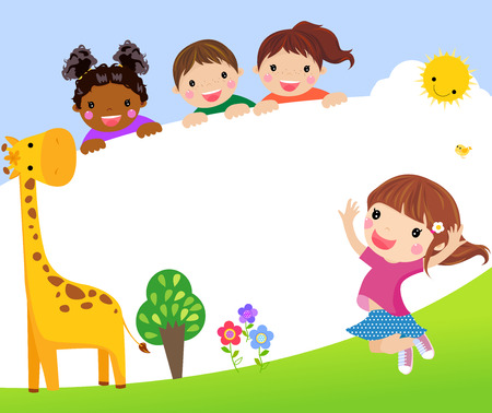 Color frame with group of kids and giraffe, background. Ilustração
