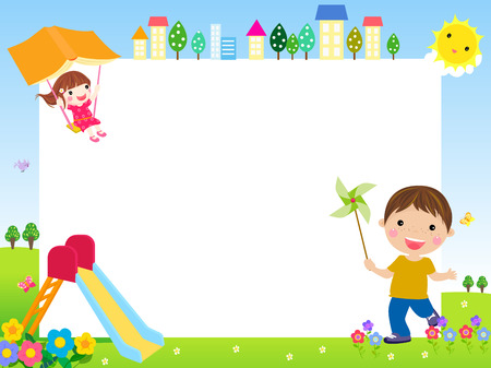 Illustration of cute children and banner Stock Illustratie