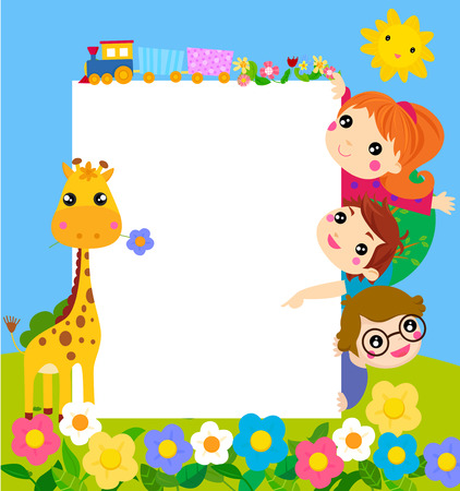Color frame with group of kids and giraffe, background. Illustration
