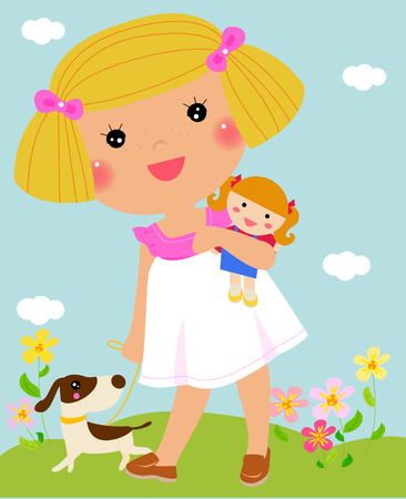rag: Child hugging her rag doll - Vector Illustration