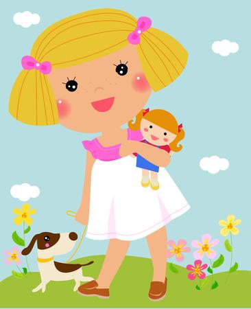 Child hugging her rag doll - Vector Stock Illustratie