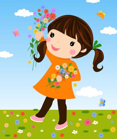 campo de flores: Muchacha en campo con flores Vectores
