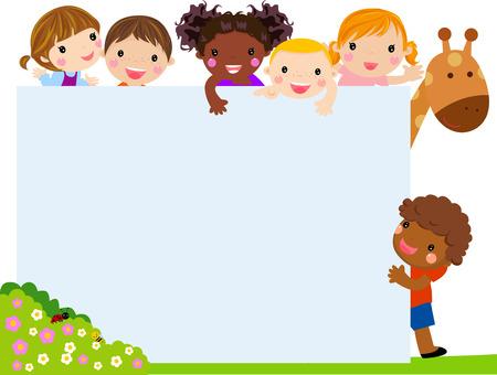 Color frame with group of kids and giraffe, background. Ilustração