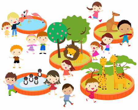 illustration of kids to the zoo  イラスト・ベクター素材