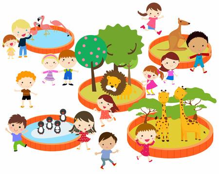 zoologico: ilustración de los niños al zoológico Vectores