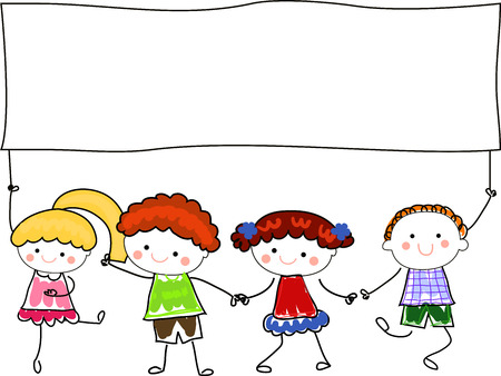 children holding hands: happy children holding hand and a blank banner for text